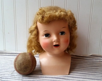Large Vintage doll head with shoulder plate hard plastic display head Home decor E14