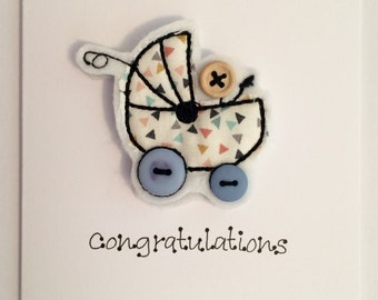 Cards - BLUE Congratulations Embroidered Card - Personalised