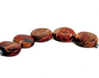 Small Disk Polymer Clay Beads - 1.5MM - Handmade - Chocolate Sundae Swirl - 5 Piece - Liquidation Sale