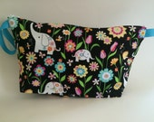 Flowery Elephants Large SoftSider Pouch