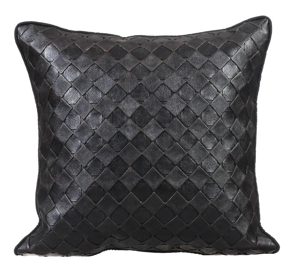 Black Leather Sofa Throw Pillows: Decorative Throw Pillow Covers Accent Pillow Leather Pillow