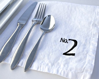 Table Numbers Wedding Numbers Linen Napkins in WHITE Linen Set of 6 Napkins with Numbers Gifts for Friends 17 inch Square Napkins Vegan