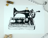 Gold Vintage Sewing Machine Art Screen Print Stitched Antique Black Screenprint Luxe 24ct Sewing Room Decor