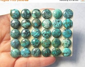 Rare Natural Turquoise 10mm Cabochon, Set Of 4, Rare Snake Skin Pattern, From Blue Diamond Mined Nevada ,