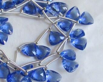 25% Off SALE Sapphire Blue Quartz Briolette Beads,  Trillion 9mm Briolettes