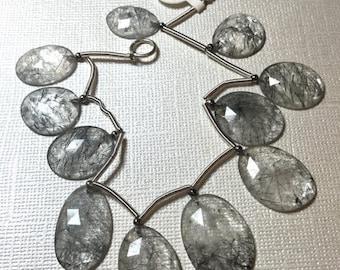 25% Off SALE Rose Cut Tourmalated Rutilated Quartz  Briolette Beads,