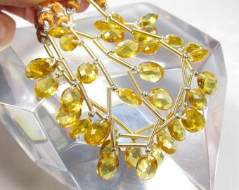 25% Off SALE Double Checkerboard Oval Citrine Quartz  Briolette Beads 1/2 strand Perfect For Pairs