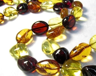 25% Off Sale Natural Orange Yellow Amber Nugget Beads, 28 Inches, Hessonite Garnet Color Russian Gemstone With Neckl