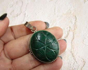 Carved Malachite Sterling Silver Pendant, Carved Flower Gemstone