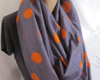 SALE - Purple and Orange Polka Dot Cowl/Circle Scarf/Infinity Scarf (5161)