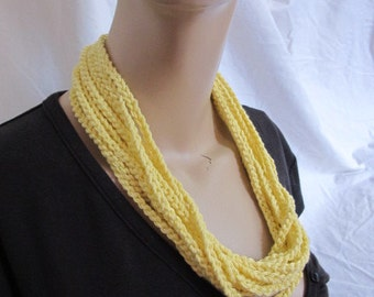 SALE - Lemon Yellow Chunky Chain Link Cowl/Necklace (5167)