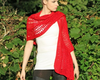 Red One Sleeved Crochet handmade Shawl Unique Asymmetrical Top Sweater Women chic jacket