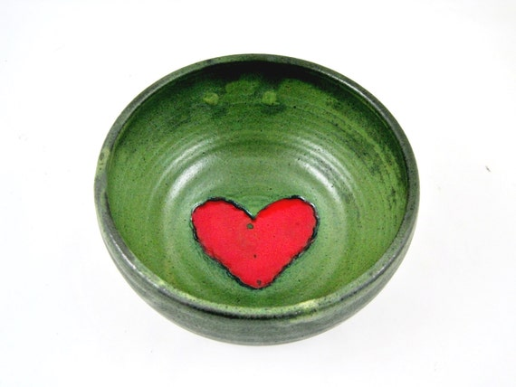 Red heart Pottery bowl, Valentine's day gift, wedding gift, bowl - In stock G