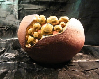 Carved Gold Rush Openwork Pebble Pot by oddartist