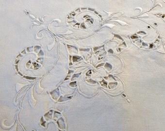 Antique Linen Tablecloth Richelieu Cutwork Embroidery, luncheon tea size, white
