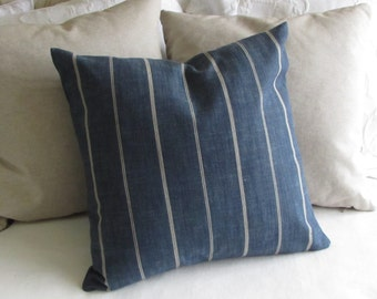 Rustic Woven blue in cream stripes pillow cover 13x26 18x18 20x20 22x22 24x24 26x26