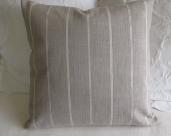 Rustic silver gray in cream stripes pillow 18x18 20x20 22x22 insert included