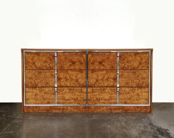 Summer Sale Vintage Burlwood & Chrome Dresser Credenza Chest