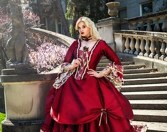 Sample Sale!  Orlando Marie Antoinette Dramatic Fantasy Gown Red/Champagne Size Med/Large
