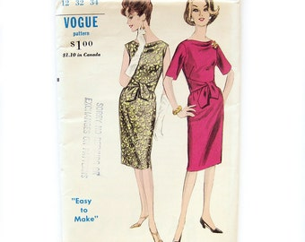 1960s Vintage Vogue Slim Dress Dress with Sash Belt One Piece Dress / Vogue 5782 / Size 12 Bust 32 UNCUT FF