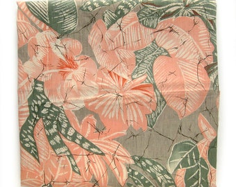 Vintage Tropical Cotton Fabric - Light Pink and Sage Leaves and Flowers - Tiki Jungle - Marcus Bros Textiles