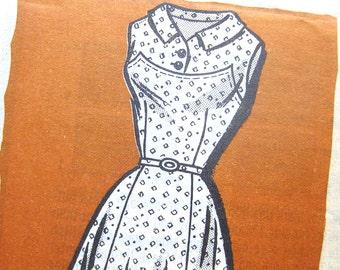 1950s Vintage Dress Pattern American Weekly 9297 Flared Skirt Sleeveless Dress Rockabilly Dress / Size 16 UNCUT