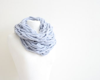 Blue knitted infinity scarf
