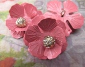 Pink Gorgeous old metal flowers with Swarovski crystals beads jewelry parts Vintage supplies for jewelry making