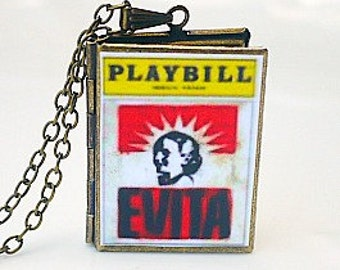 Evita, Andrew Lloyd Webber, Tim Rice, Eva Peron, Album Musical, Broadway Theatre, Tony Award Best Musical, Playbill Jewelry Necklace