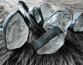 ON SALE Crystal quartz ring | Rough Rock Quartz ring | Rock quartz crystal statement ring | Gift for her and him | Adjustable stone ring