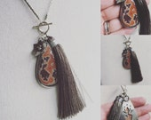 50% OFF Dryhead Agate Pendant hand fabricated sterling flower silk tassel in bronze and chocolate brown with silver detailing handmade oak