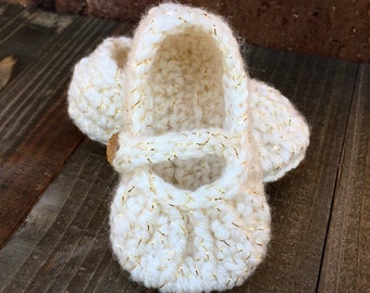 Cream & Gold Crochet Mary Jane Slippers for Baby Girl, Newborn, Size 0-3 months, Booties