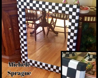 Painted mirror // black and white checked mirror // wall mirror