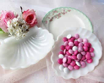 Vintage Milk Glass Gosser China Plate Candy Dish Collection of Three - Weddings Tea Parties