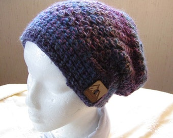 Crocheted  Slouch Hat in Shades of Purple