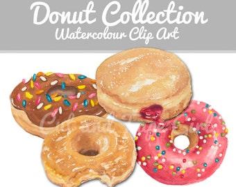 Donut Clip Art - Watercolor Clip Art, Doughnut, Watercolour Clip Art, Sprinkle Donut, Digital Files, Craft Supplies, Hand Drawn