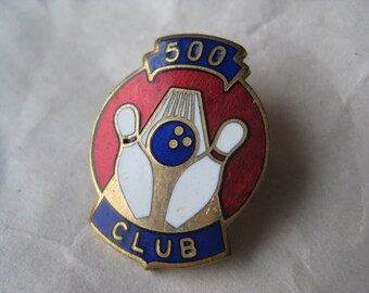 Bowling 500 Club Pin Brooch Vintage Gold Blue Red White Enamel