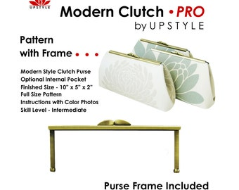 Free Shipping - Modern Clutch - PRO Pattern WITH Purse Frame - by UPSTYLE - Select from Del Mar Style Purse Frame Options