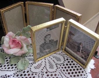 Set 2  Gold Hollywood Regency Gold  Metal Picture Frames,Paris Apt, Wedding, Repurpose,