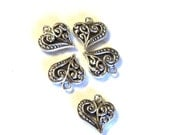 """5 Antique Silver Filigree Open Work Heart Drops, 1/2"""", Double Sided, Findings, Jewelry Supplies, Earring Components"""