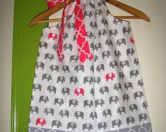Elephant dress pillowcase dress Pink Gray Dress Fabric girl  3,6,9,12,18, months  2t, 3t, 4t,5t,6,7,8,9,10,12,14