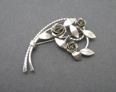 Vintage Silver Rose Brooch Flower Jewelry P6887