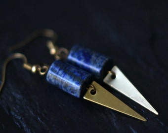 Lapis Lazuli Dagger Earrings, Triangle Dangles, Blue Gemstone Earrings, Glittery Pyrite, Brass, Alchemy, Boho Jewelry