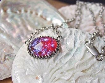 Eliza -  Vintage Glass Solitaire Necklace