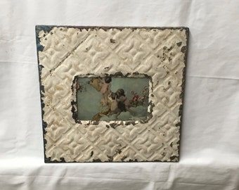 AUTHENTIC Tin Ceiling 4x6 Antique Creamy White Butterscotch Picture Frame Reclaimed Photo 270-16