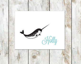 Narwhal Thank You Cards - Folded Notes - Narwhal Wearing a Winter Hat Notecard- Baby Narwhal