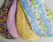 Cotton & Flannel burp cloths, 4 pack (Set 4)