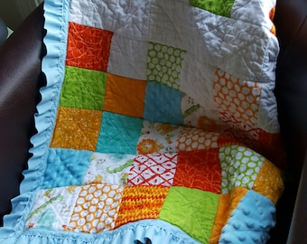 """Rag Quilt Sunny Summer Animals, Toddler/Baby Handmade Approximate Size 34"""" X 45"""""""