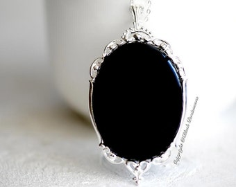 Thyra Black Onyx Gothic Necklace - Solid 925 - Genuine Auspicious Feng Shui Protective Symbol Gemstone - Insurance Included