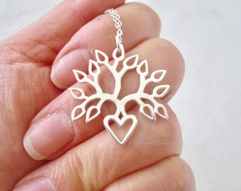 Tree of Life Blooming Heart Necklace - Solid 925 Sterling Silver Pendant - Insurance Included